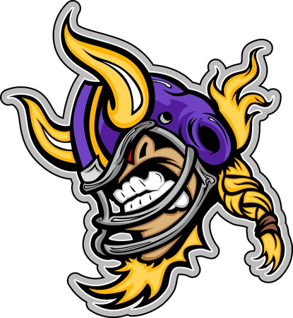 Graphic Vector Sports lmage of a  Snarling American Football Viking Mascot with Horns on Football Helmet Vector