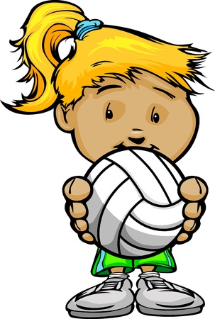 juniors: Cartoon Vector Illustration of a Cute Girl Volleyball Player with Hands Holding Ball