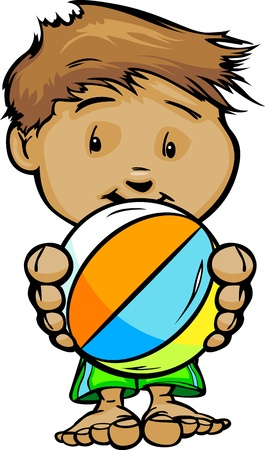 Cartoon Vector Illustration of a Cute Kid at Pool or Beach with Hands holding Beach Ball Stock Vector - 15209001