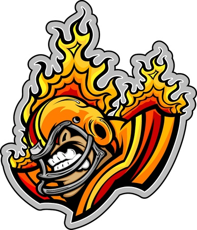 reciever: Graphic Vector lmage of a Mean Tough Football Mascot with Flames coming out of Football Helmet Illustration