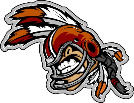warriors: Graphic Vector Sports Illustration of a Snarling American Football Indian Brave Mascot with Feathers on Football Helmet Illustration