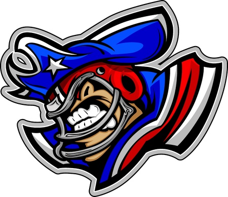 Graphic Vector Sports lmage of a Snarling American Football Patriot Mascot with Hat on Football Helmet Vector