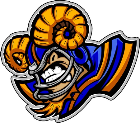 Graphic Vector Sports lmage of a Snarling American Football Ram Mascot with Horns on Football Helmet