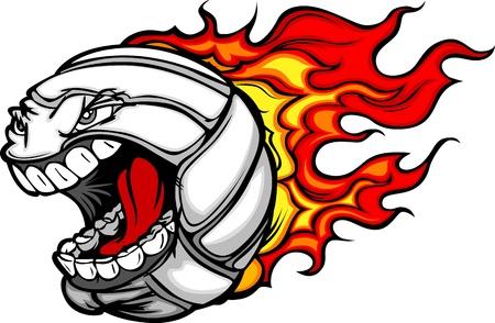 Cartoon Imagen vectorial de un Flaming Ball Voleibol con la cara enojada