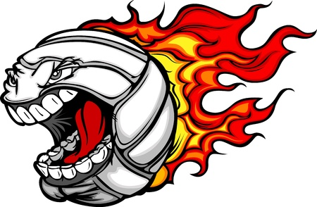 Cartoon Vector Image of a Flaming Volleyball Ball with Angry Face Vector