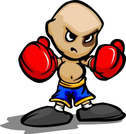 kid vector: Cartoon Ilustraci�n vectorial de un chico duro con los guantes de boxeo y de ojos Negro