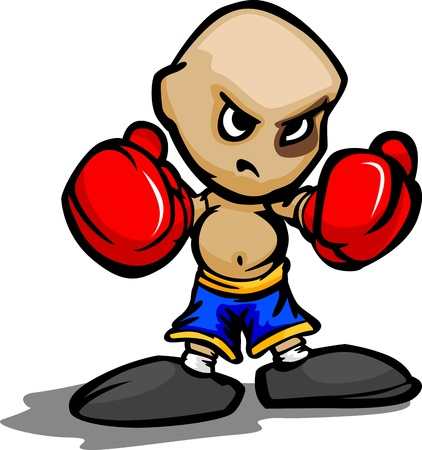Cartoon Vector Illustration of a Tough Kid with Boxing Gloves and Black Eye Vector