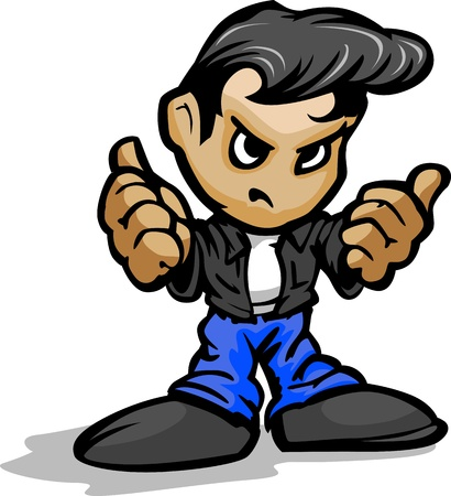 Cartoon Vector Illustration of a Cool 50�s Greaser Kid with Jeans and Leather Jacket in Thumb up Gesture