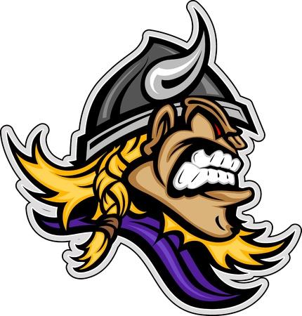 vikingo: Jefe Norseman de Vikingo con la barba y el pelo trenzado Casco Graphic Image Mascot Vector