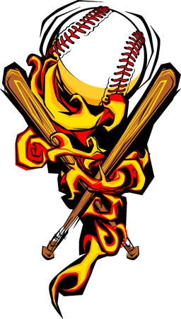Graphic Image of Flames Surrounding Baseball and Crossed Bats  Vector