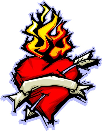 fiery: Illustration of a Flaming Heart image with Arrow and Flames