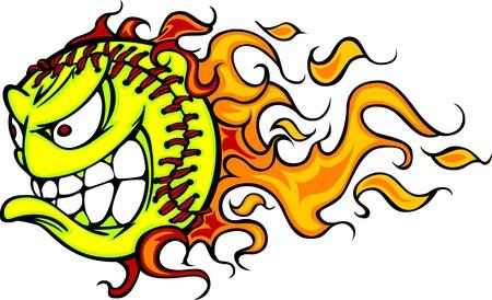 softbol: Cartoon Imagen de una Softbol de Lanzamiento Rápido llameante con la cara enojada