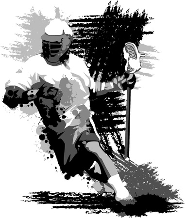 Graphic Image of a Lacrosse Player Running with a Lacrosse Stick Vector
