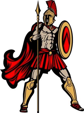cascos romanos: Spartan griego o mascota del soldado troyano que sostiene un escudo y lanza