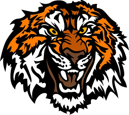 Graphic Mascot Image of a Snarling Tiger Head  Vector