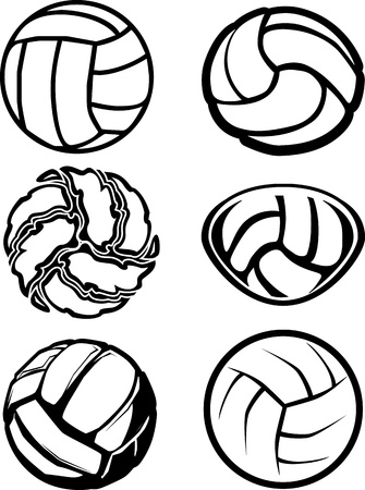 Group of Six Volleyball Ball Illustrations