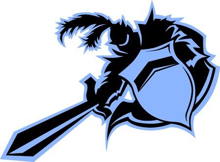 Warrior of Medievel Black Knight Mascot met Schild Stock Illustratie