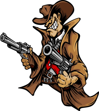 six shooter: Cartoon Mascot Image of a Cowboy Shooting Pistols