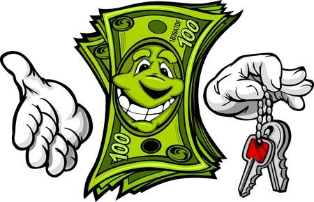 Cartoon Geld en Handen met auto of huissleutels Cartoon Afbeelding