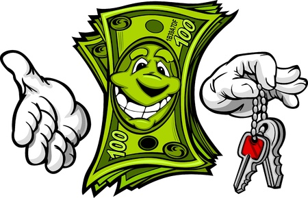 Cartoon Money and Hands with Car or House Keys Cartoon Image