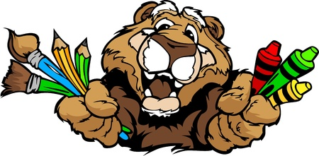 Kindergarten School Cougar with crayons and paint brushes, and art supplies in Paws Smiling Mascot  Illustration