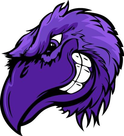raven: Cartoon  Mascot Image of a Raven, Crow or Black Bird Head