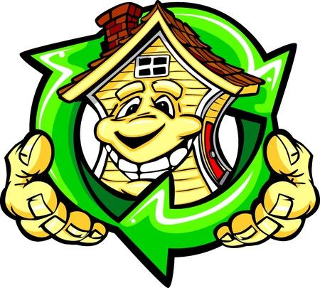 Cartoon afbeelding van een Gelukkige Glimlachende Energie-efficiënte Huis met handen houden van een KringloopSymbool