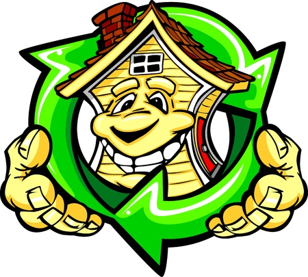 hands holding house: Cartoon  Image of a Happy Smiling Energy Efficient House with Hands Holding a Recycle Symbol