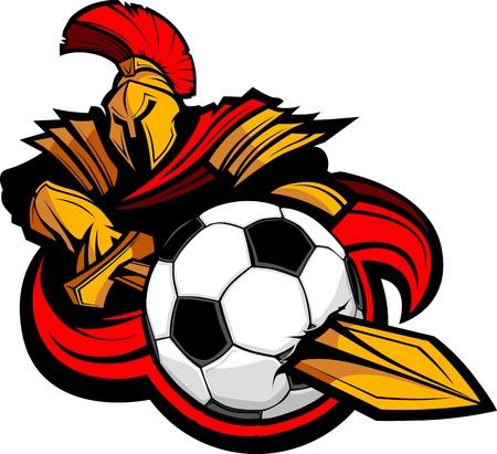 mascot: Greek Trojan or Roman Soldier Mascot holding a sword piercing a soccer ball Illustration