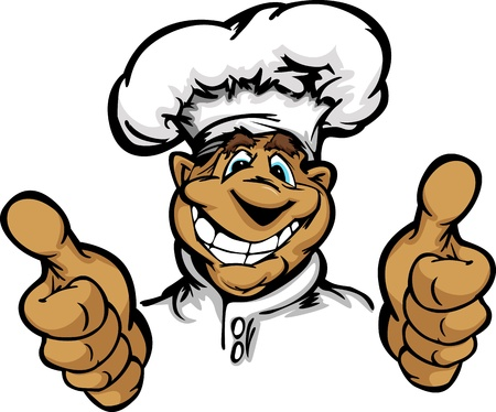 Restaurant Chef or Cook Mascot with Happy Smiling Face Wearing Chefs Hat and Thumbs up gesture Cartoon  Image