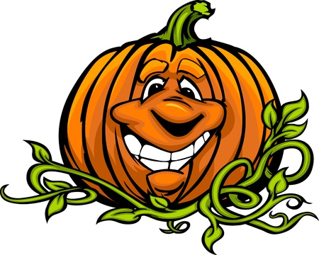 halloween k�rbis: Cartoon Bild von einem Happy Halloween Pumpkin Jack O Lantern Head and Vines mit l�chelnden Ausdruck