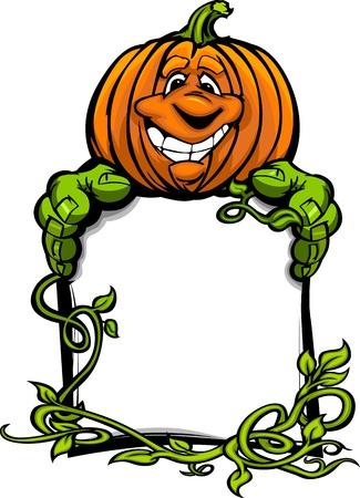 Cartoon Image of a Happy Halloween Pumpkin Jack O Lantern Holding a Sign with Vines