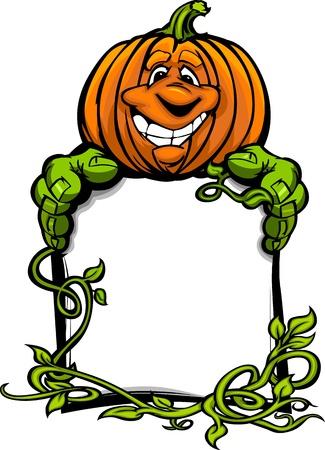 jack o: Cartoon Image of a Happy Halloween Pumpkin Jack O Lantern Holding a Sign with Vines