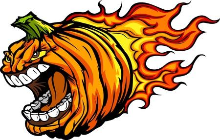 Cartoon Image of a Scary Flaming Halloween Pumkin Jack O Lantern Pumpkin Head with Screaming Expression