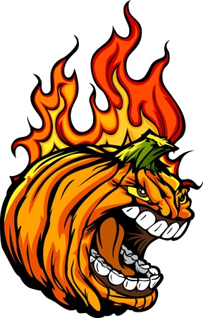 pumkin: Cartoon Image of a Scary Flaming Halloween Pumkin Jack O Lantern Pumpkin Head with Screaming Expression