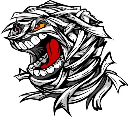 Cartoon Image of a Scary Screaming Halloween Monster Mummy Head