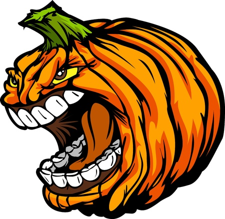 Cartoon  Image of a Scary Screaming Halloween Pumpkin Jack O Lantern Head