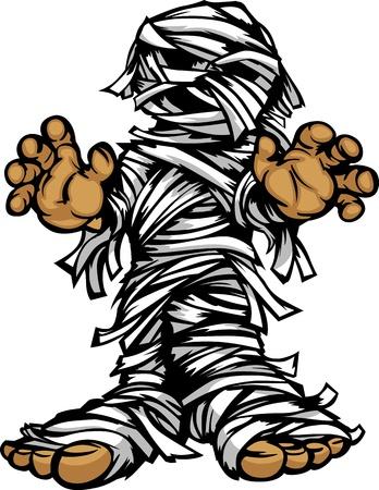 Cartoon Afbeelding van een Halloween Monster Mummy Staan met Grijpen Handen Stock Illustratie