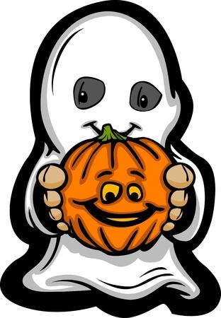 Cartoon Imagen de un fantasma de Halloween Feliz Con Smiling Jack-O-Lantern Ilustración de vector