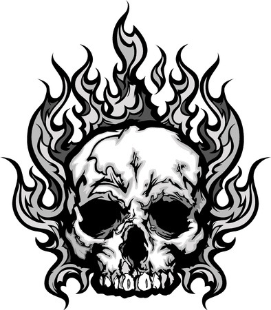 skull tattoo: Skull on Fire with Flames Illustration
