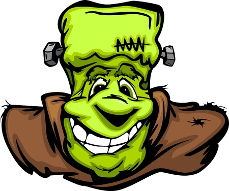 frankenstein: Cartoon Image of a Happy Halloween Monster Frankenstein Head with Smiling Expression