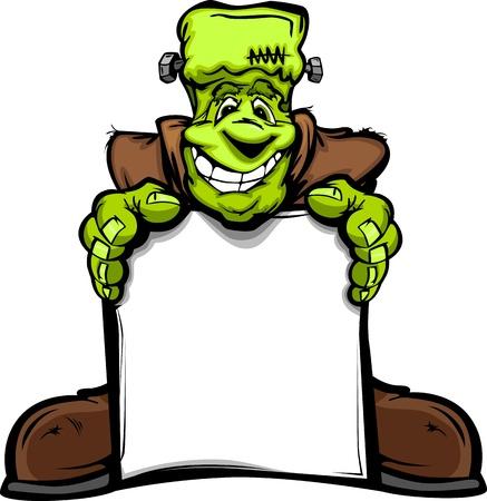 cartoons: Cartoon Bild von einem Happy Halloween Monster Frankenstein Head Holding ein Zeichen Illustration