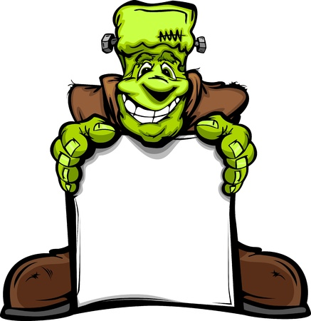 frankenstein: Cartoon Image of a Happy Halloween Monster Frankenstein Head Holding a Sign Illustration