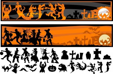 Silhouette Bilder von Halloween Kids, Monster und andere Holiday Icons Standard-Bild - 15258742