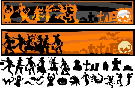 Silhouette Images of Halloween Kids, Monsters, and Other Holiday Icons Stok Fotoğraf - 15258742