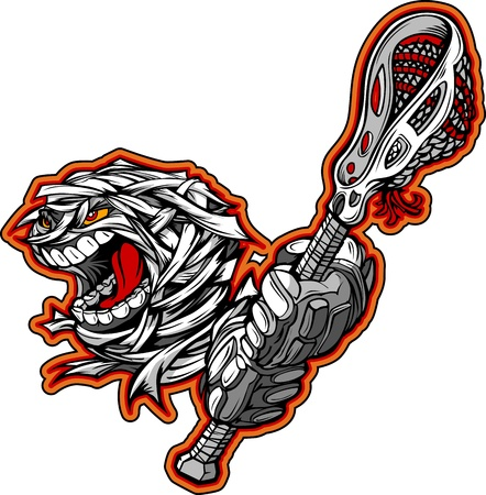 fall images: Cartoon Image of a Scary Screaming Halloween Monster Mummy Head with Lacrosse Stick and Gloves Illustration