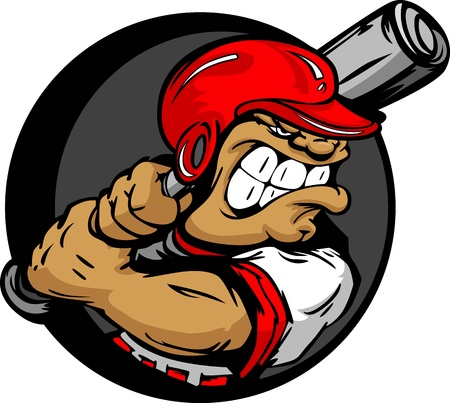 hitter: Baseball Cartoon Batter with Helmet and Bat Vector Illustration