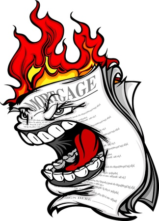 Cartoon Vector Image of a Screaming Mortgage Forclosure on fire representing the Housing Crisis and Financial Meltdown Ilustração