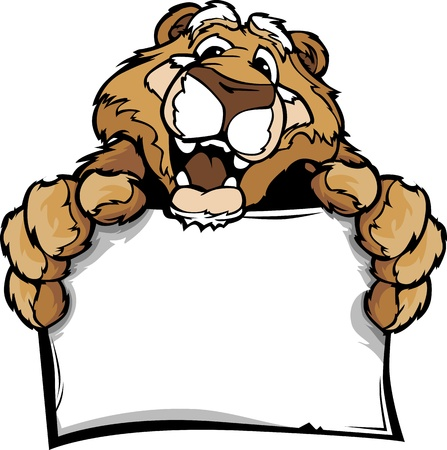 Mountain Lion or Cougar Head Smiling Mascot  Holding Sign Vector Illustration  Vector