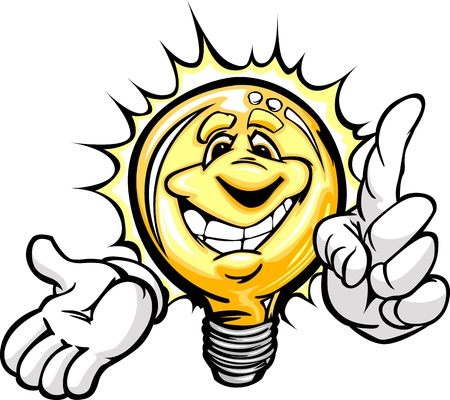 Cartoon Light Bulb with Smiling Face and Hands with Bright Idea or energy savings Vector